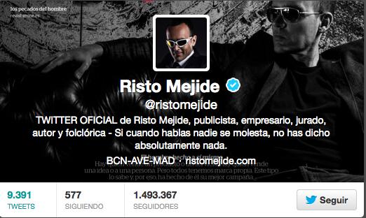 Entre los 50 famosos españoles con más seguidores en Twitter, se encuentra RistoMejide
