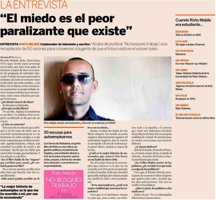 """Entrevista a Risto Mejide """" El miedo es el peor paralizante""""."""