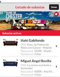 Participa en las subastas benéficas de los sofás de 'Viajando con Chester'. Los chester de M. A. Revilla yGabilondo.