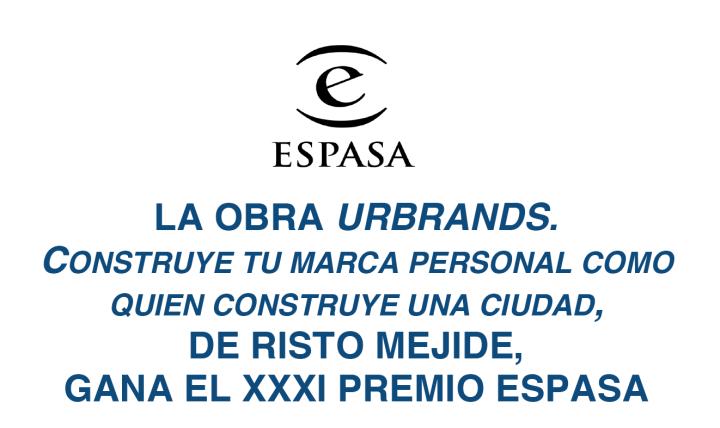 "Risto Mejide, Premio Espasa 2014 por su ensayo ""Urbrands""."